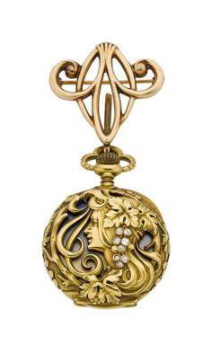 Haas Neveux Co. Very Fine Art Nouveau Gold, Enamel Diamond Watch, circa 1905.
