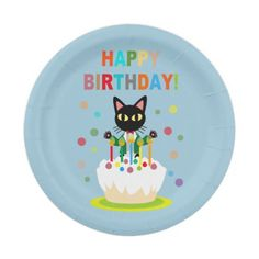 Birthday with a black cat! Paper Party Plate by BATKEI #zazzle #cat #猫 #birthday # plate
