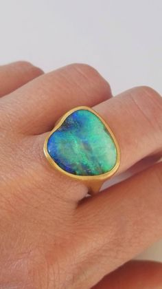 Dalben One of a Kind Boulder Opal Satin Gold Ring | From a unique collection of vintage cocktail rings at https://www.1stdibs.com/jewelry/rings/cocktail-rings/
