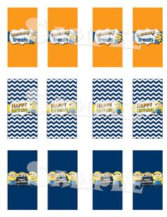 "Printable ""Despicable Me MINION Mini CANDY BAR Wrappers"" - Minion Themed Mini Size Candy Bar Wraps - Minion Party - Instant Download"