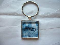 Seattle Seahawks NFL Football Silver Keychain by BadCatCraft