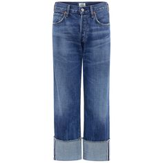 Citizens Of Humanity - Parker relaxed cuffed crop jeans ($209) ❤ liked on Polyvore featuring jeans, cuffed jeans, citizens of humanity jeans, citizens of humanity, relaxed jeans and cuffed cropped jeans