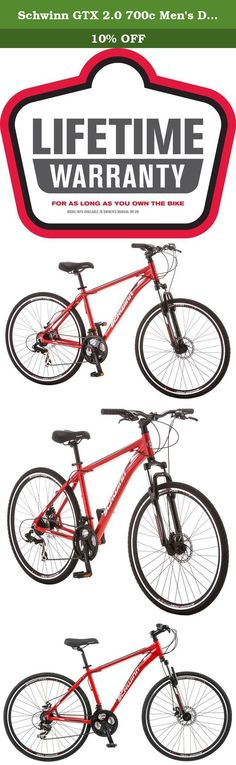 Schwinn GTX 2.0 700c Men's Dual 18 Sport Bike, 18-Inch/Medium, Red. Enjoy riding again on the comfort of a Schwinn. This is a multi-sport hybrid style bike which means it can be everything you want it to be, and more! Ride it around the neighborhood with the kids, take it to the store to grab sandwiches or take a day trip with your pals. The Schwinn GTX 2 is up for anything. Featuring 21 speeds with a Shimano derailleur, versatile tires and a front suspension fork to help you take the…