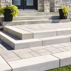 Trust us for quality interlocking pavers retaining wall blocks landscaping sto Patio Steps, Outdoor Steps, Front Walkway Landscaping, Outdoor Landscaping, Landscaping Ideas, Pavers Patio, Patio Plants, Concrete Patio, Flagstone