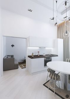 Apartment, Comely Modern White Kitchen For Small Apartment Design Ideas Also White Modern Round Table And Contenporary Stool With Brown Striped Pattern And Unique Pendant Lamp Also Light Brown Curtains Color: Minimalist Small Apartment Living Room Ideas