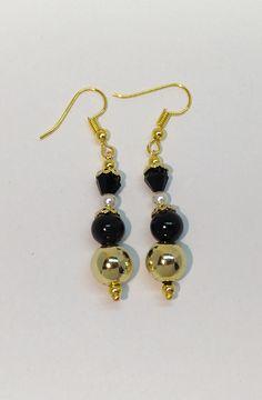 Handmade golden-black earrings  #earrings #black #gold