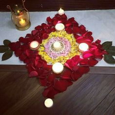 Decorate Home With These Easy Flower Decor Ideas - - Flower decoration is one of the best kind of decoration for any festival. And Diwali around the corner, Decorate Home With These Easy Flower Decor Ideas. Rangoli Designs Flower, Colorful Rangoli Designs, Rangoli Ideas, Rangoli Designs Diwali, Diwali Rangoli, Rangoli Designs Images, Flower Designs, Rangoli With Flowers, Ganesh Rangoli