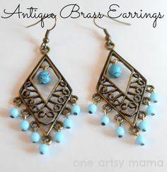 Antique Brass Dangle Earrings