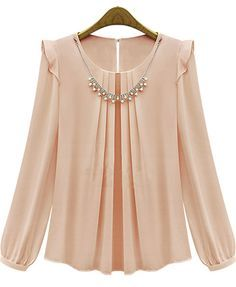 To find out about the Pink Long Sleeve Rhinestone Loose Chiffon Blouse at SHEIN, part of our latest Blouses ready to shop online today! Blouse Patterns, Blouse Designs, Hijab Fashion, Fashion Dresses, Fashion Fashion, Fashion Online, Sewing Blouses, Mode Hijab, Blouse Styles