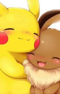Two of my favorite pokemon, Eevee and pikachu Eevee Pokemon, Pikachu Pikachu, Pikachu Mignon, Pokemon Fan, Draw Pokemon, Cute Animal Drawings, Kawaii Drawings, Cute Drawings, Anime Chibi