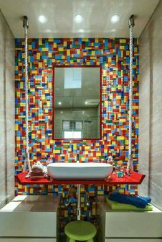"""Lego wall, """"suspended"""" sink. Cool bathroom . Legos, Lego Lego, Lego Bedroom Decor, Lego Bathroom, Boy Room, Kids Room, Lego Decorations, Cube Furniture, Game Room Bar"""