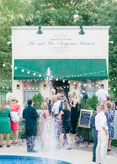 Customized Storefront Serves as a Bar at this Gorgeous Vintage Wedding at Greencrest Manor by Pasha Belman Photography