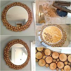 Marvelous Diy Mirror Decoration How To Make Wood Slices Decorated Mirror DIY Tutorial. Wood Mirror, Diy Mirror, Mirror Glass, Mirror Ideas, Decor Crafts, Diy And Crafts, Recycled Crafts, Handmade Mirrors, Decorative Mirrors