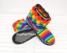 Ganchillo botas Boho estilo con cordones zapatos por JoyForToes