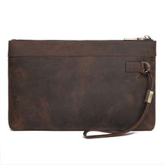 Dark Brown Leather Mens 8 inches Envelope Bag Wristlet Wallet Bag Zipper Clutch Wallet For Men Wristlet Wallet, Card Wallet, Men Clutch Bag, One Bag, Small Shoulder Bag, Dark Brown Leather, Long Wallet, Messenger Bag, At Least