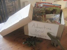"""Summer Adventure Boxes - Love this.  This idea could be done for kids """"art"""" boxes in the art studio.  Each child who regularly attends could have their own box or tote with their own supplies and projects (esp. unfinished projects) inside, so they can just grab it when they come in and put it away when they leave."""