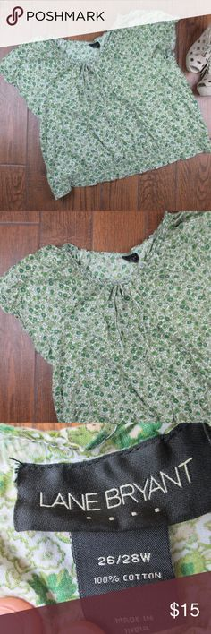 Lane Bryant Floral Blouse 26/28W This is a pre owned blouse by Lane Bryant. Size 26/28w, 100% cotton. Minor signs of wear like fading but overall in good condition. Bust from pit to pit is approximately 30 inches.  ***Offers Accepted***  Add to a bundle for an automatic discount!!!  Colors may very due to lighting, seller does its best to portray the right color. Please inspect all photos.  #D042 Lane Bryant Tops Blouses