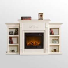 Add small cabinets to a fireplace surround