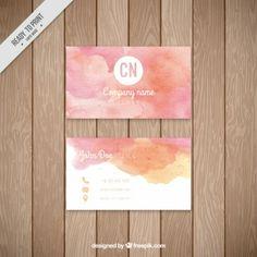粉紅色的水彩法人卡