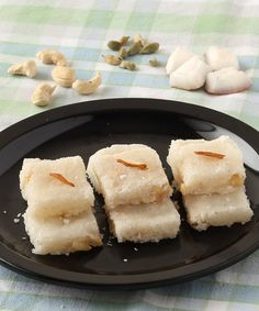 Navratri Special Indian Sweet for Prasad- Coconut Burfi (Nariyal Barfi) - Coconut Fudge - Kopra Pak - Step by Step Photo Recipe - Either make it with Fresh Coconut or Dry Coconut