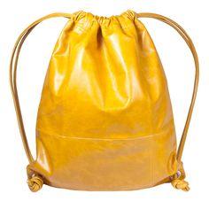 TONI Rucksack für den Sommer aus feinstem Leder in gelb, #Tasche