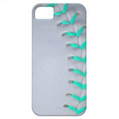 Light Blue Stitches Baseball / Softball iPhone 5 Cases