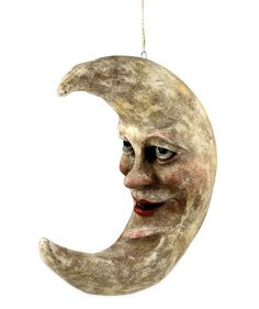 Vintage Style Halloween Hanging Paper Mache Moon by Vergie Lightfoot. TheHolidayBarn.com