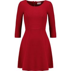 Milly Ribbed stretch-knit dress ($305) ❤ liked on Polyvore featuring dresses, short dresses, vestidos, red, red flare dress, ribbed dress, red mini dress, slimming dresses and flared dress