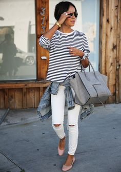 stripes, white jeans, denim jacket, flats
