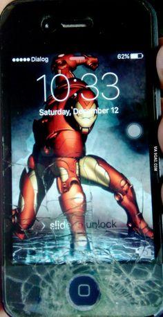 My friend's phone cracked...  so he improvised...