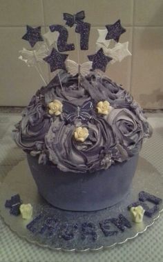 Purple themed giant cupcake