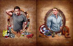 Dos firmaron, 11 x 14 Tony Stark y Steve Rogers, impresiones digitales de Ben Russell.  Las obras de arte son mano dibujada con lápiz y color digital.