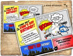 Superhero Invitation / Superhero birthday invite por 2birdstudios