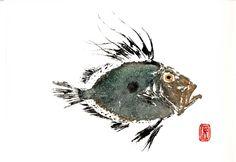 Gyotaku of John Dory fish, by Jodie Buckley. Japanese art of fish printing. Fish Drawings, Animal Drawings, Japanese Prints, Japanese Art, Miquel Barcelo, Monster Fishing, Sea Life Art, Fish Print, Nature Prints