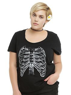 Black Rib Cage T-Shirt Plus Size, BLACK