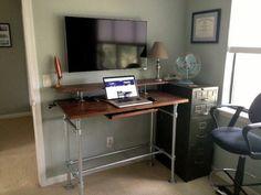 Diy stand up desk build your own standing desk building a standing desk make your own . diy stand up desk Home Office Furniture, Diy Furniture, Diy Standing Desk, Plumbing Pipe Furniture, Desk Shelves, Shelf, Stand Up Desk, Lounge, Loft Spaces