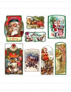 Vintage Christmas Labels Tags Digital