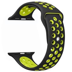 Amazon.com: yearscase 42MM Soft Silicone Bracelet Sport Replacement Strap Wristband with Ventilation Holes for Apple Watch Nike+ and Apple Watch Series 1 2, M/L Size ( Black / Volt Yellow ): Cell Phones & Accessories