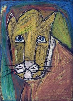 """love all the sad faced """"wild cats"""" -2nd grade- oil pastel on black"""
