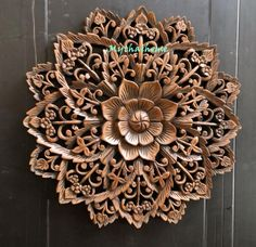 White Thick Bohemian Bed Headboard Sculpture Lotus Flower Wooden Hand Craved Carving Teak Wood Brown Art Panel Wall Home Decor Thai Wooden Wall Art Panels, Panel Wall Art, Decorative Panels, Wooden Walls, Thai Decor, Wood Carving Designs, Wax Carving, Brown Art, Wooden Hand