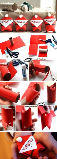 Toilet Paper Roll Santas | Click for 25 DIY Christmas Crafts for Kids to Make | DIY Christmas Decorations for Kids to Make