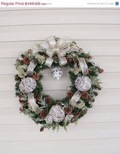 Christmas Sale Christmas Wreath, Winter Wreath, Champagne Metallic Wreath, Pine Cone Wreath, Rustic Wreath, Country Wreath, Silvery Wreath,