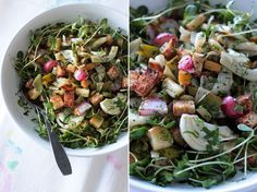 Early Spring Panzenella: a lovely spring salad. Very tasty, and good leftover for 1-2 days. A hit at Easter '13.