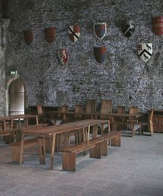 1268 - The Great Hall of Caerphilly castle in Wales. The castle was constructed by Gilbert de Clare, who began work on the castle in 1268.