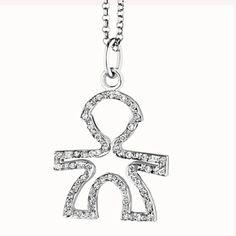 SILHOUETTE - Maschietto in oro bianco e pavé di diamanti con catenina in oro bianco 18 kt cm 45. Brill. ct 0,13. Altezza cm 1,60 · larghezza cm 1,40.  #lebebe #ciondoli #pave #oro #diamanti