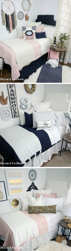 """Decorating a dorm room? Check out Decor 2 Ur Door for tons of college dorm room inspiration - from boho dorm room decor to preppy Lilly dorm rooms. Get the """"Fixer Upper"""" farmhouse dorm room look with Magnolia Homes pillows and rugs or take a walk on the wild side with this blush and cheetah print dorm room. There are hundreds of dorm room bedding sets to fit your unique personality and style. We adore these custom-made designer headboards for dorm rooms, extended-length dorm room bed skirts…"""