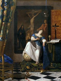 Allegory by Vermeer. As with Rembrandt Vermeer's women were bottom-heavy. A smooth expanse of flesh at bust and shoulder was considered desirable. Shapely arms were part of this look.