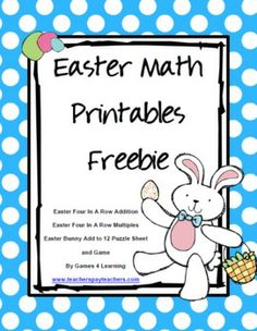 Easter Math Printables FREEBIE from Games 4 Learning - 2 Easter Math Board Games and an Easter Math Sheet