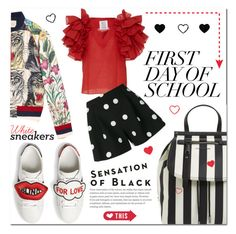 """N. 2 Sep - White sneakers for frits Day of school"" by martinambf on Polyvore featuring moda, Gucci, Rosie Assoulin, Boutique Moschino e Vision"