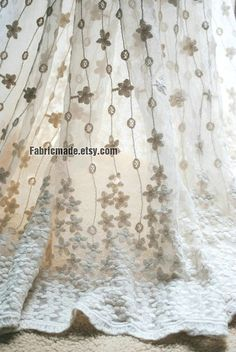 Beige White Wedding Fabric, French Lace Fabric, Bridal Lace Fabric,  Two Edges Embroidered Lace Fabric - 1/2 yard Lace    $22